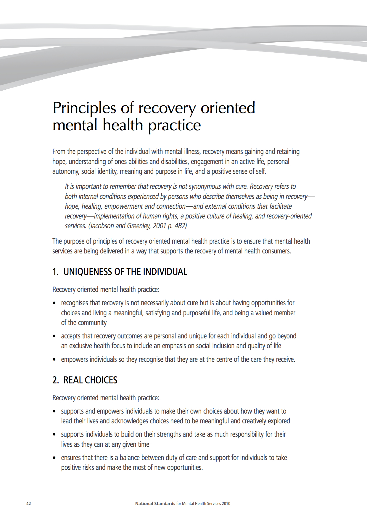 mental health recovery model pdf