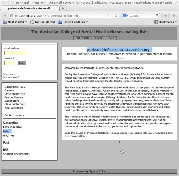 http://lists.acmhn.org/wws/info/perinatal-infant-mh