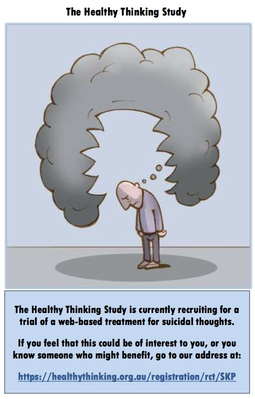 Black Dog Institute Healthy Living Study is a program to help those experiencing suicidal thoughts manage them: http://www.blackdoginstitute.org.au/public/research/participateinourresearch/index.cfm