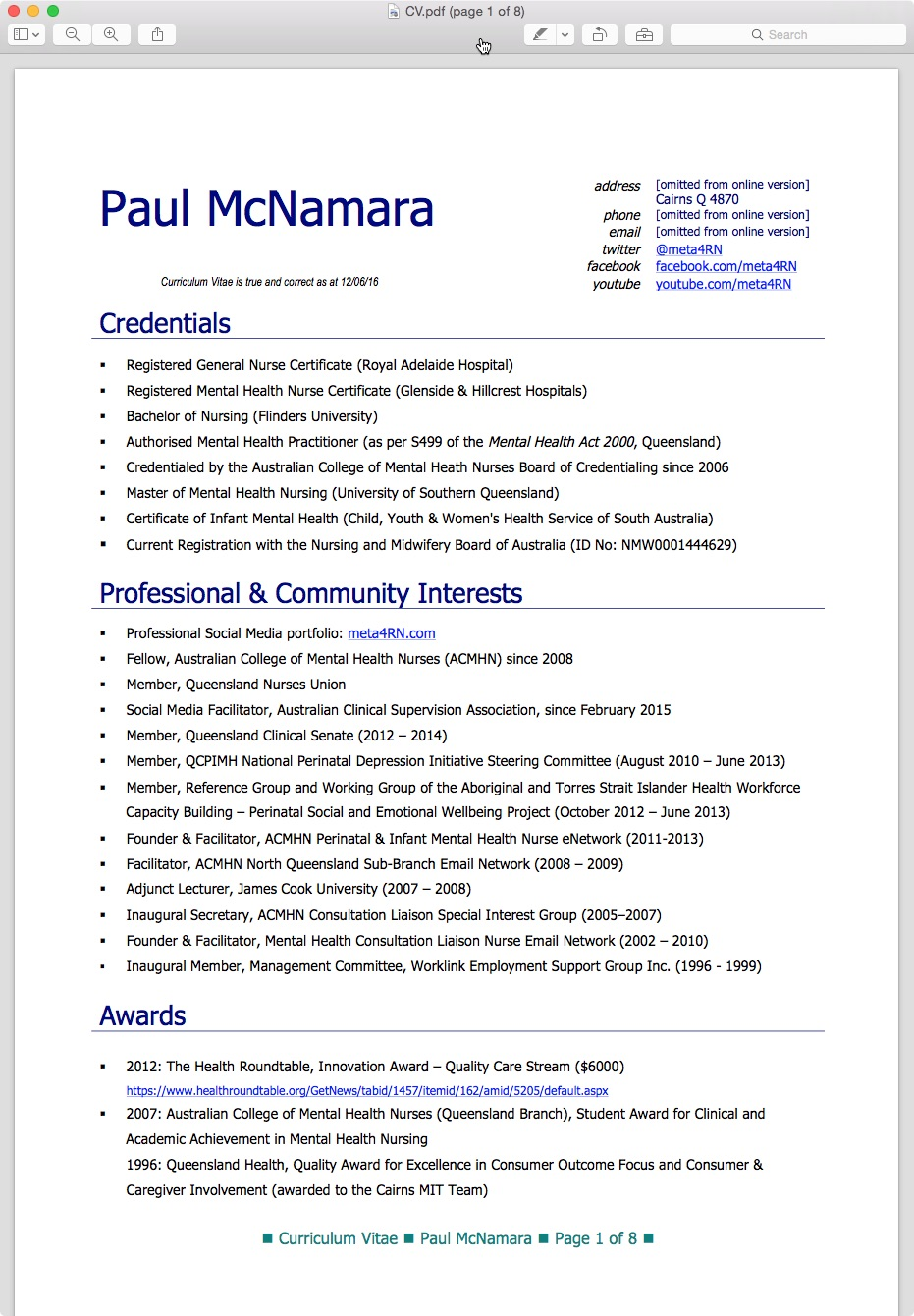example of nursing curriculum vitae