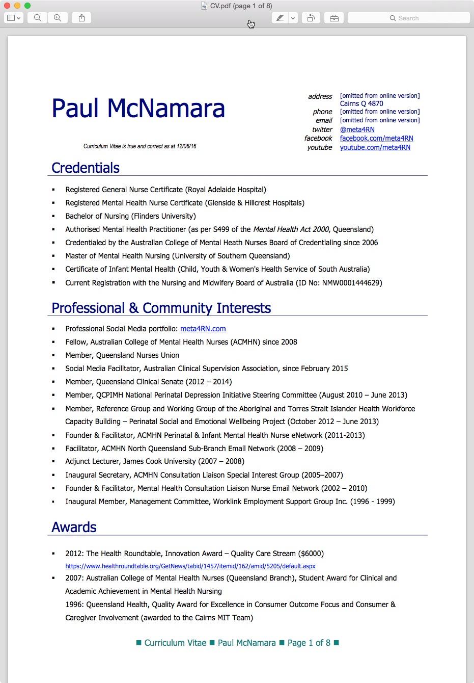 Curriculum Vitae Resume Australia