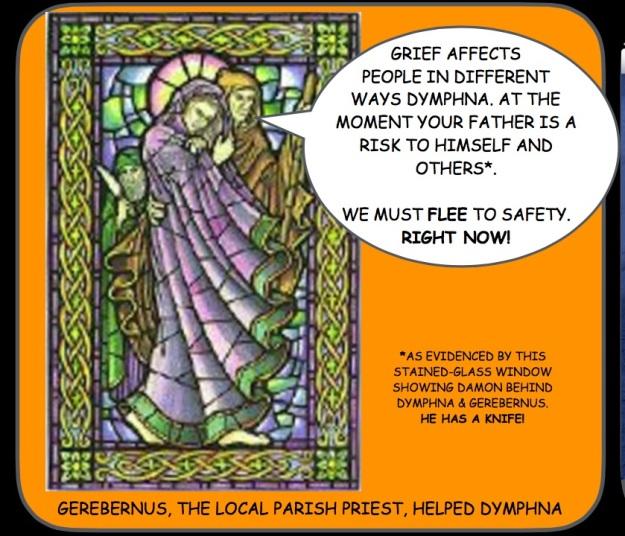 Stained glass window http://www.irelandseye.com/irish/people/saints/dympna.shtm